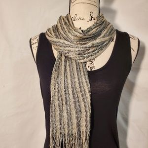 Pretty Scarf w/ Metallic, Tan, Grey, and Black